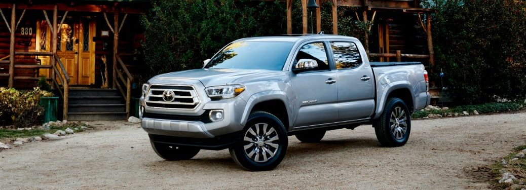 2020 Tacoma parked outside of cabin