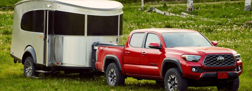 A 2021 Toyota Tacoma towing a trailer