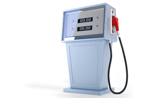 old gas pump on white background