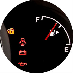 Close Up of Fuel Gauge and Warning Lights