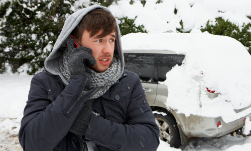 Man Calling for Help in the Winter
