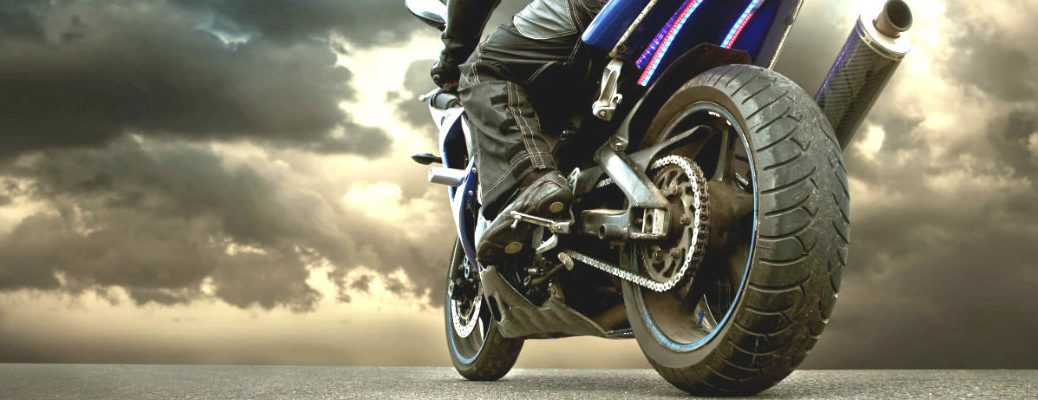 Low-angle image of a motorcycle