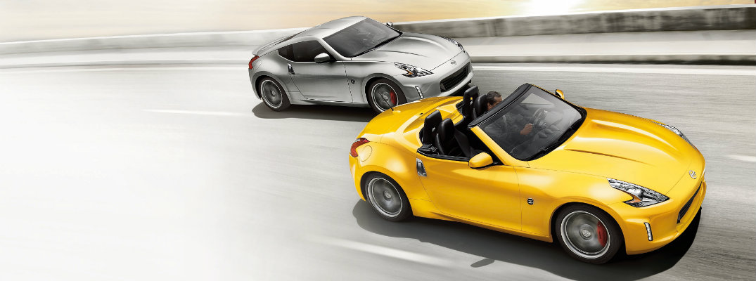Silver and Yellow Nissan 370Z models