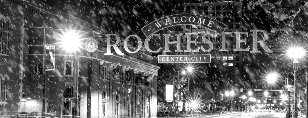 Black and white photo of Rochester, NY during the winter season