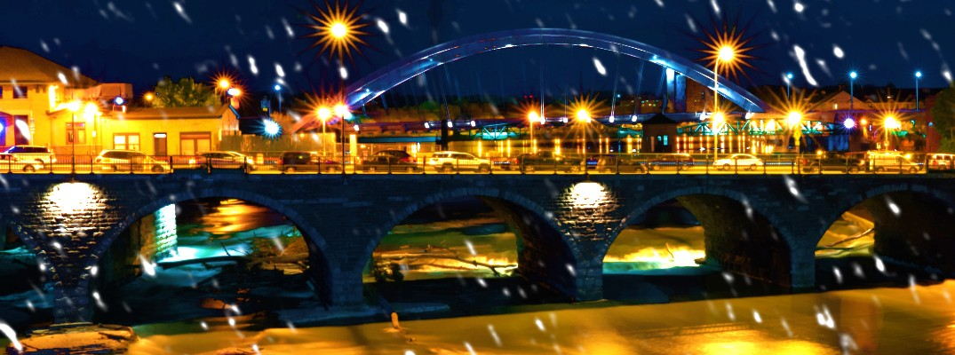 Bridge in Rochester, NY during the winter season