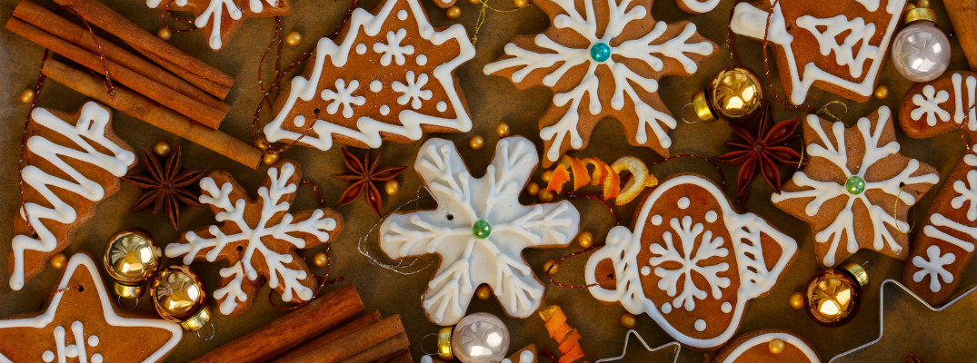 Iced gingerbread cookies during the holidays