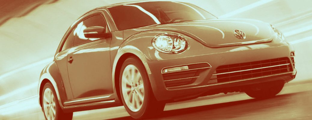 Sepia-tone picture of a Volkswagen Beetle