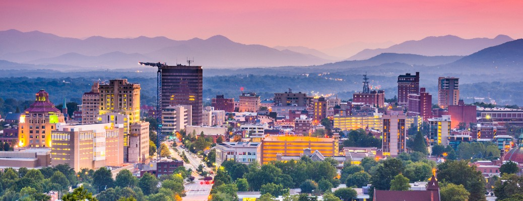 Skyline of Asheville, NC at twilight