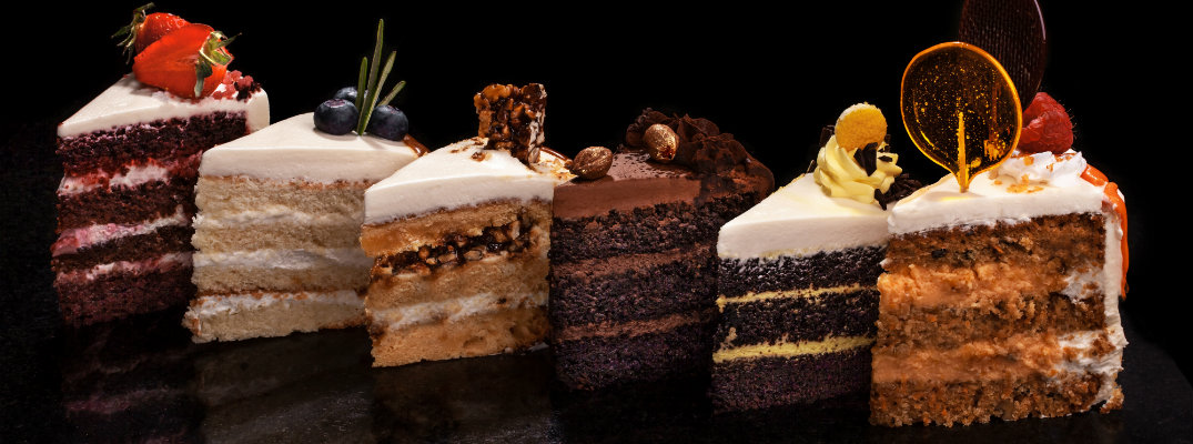 Slices of cake in a variety of flavors