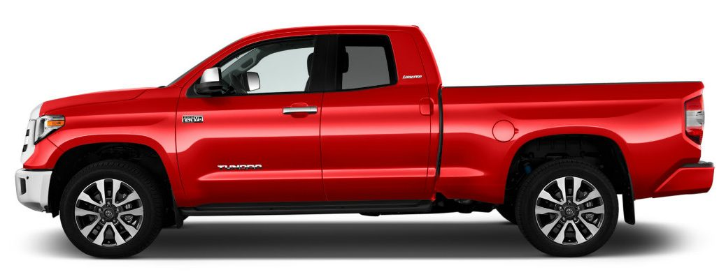 Side profile of a red Toyota Tundra