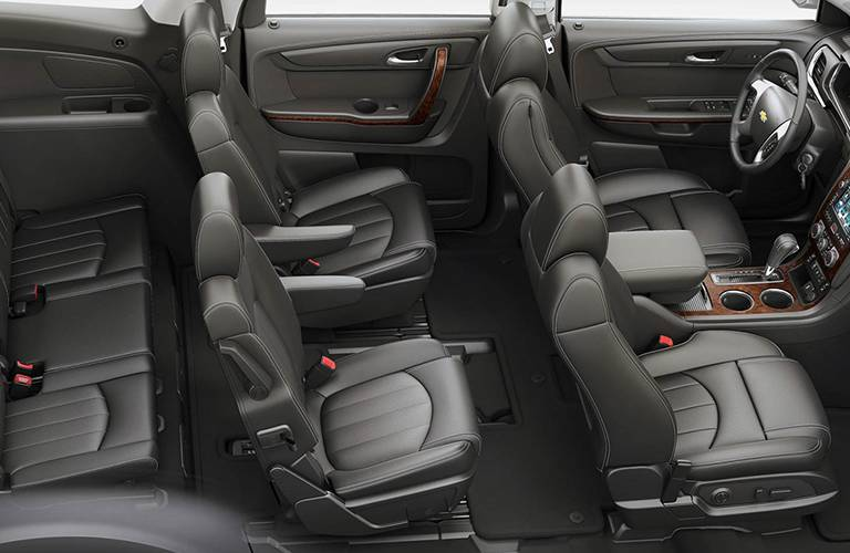 The interior layout of a 2016 Chevrolet Traverse.