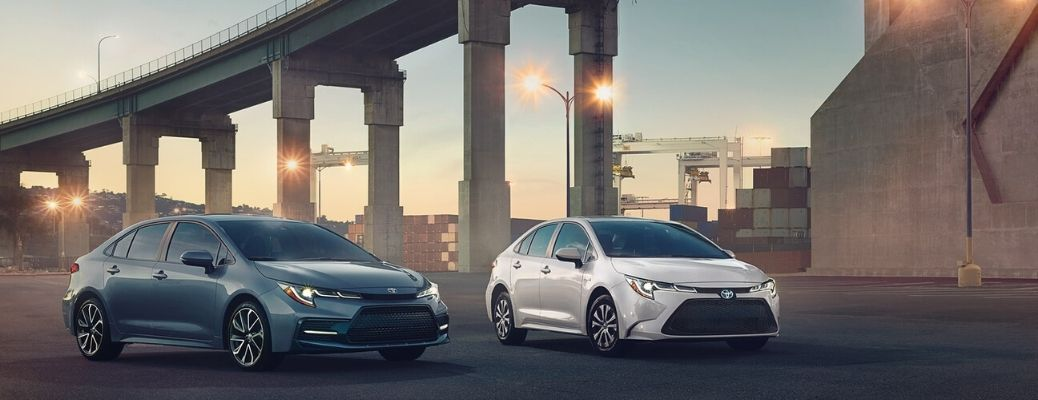 2020 Toyota Corollas parked outside near bridge