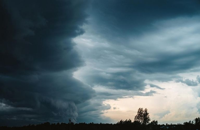 Clouds rolling in a thunderstorm