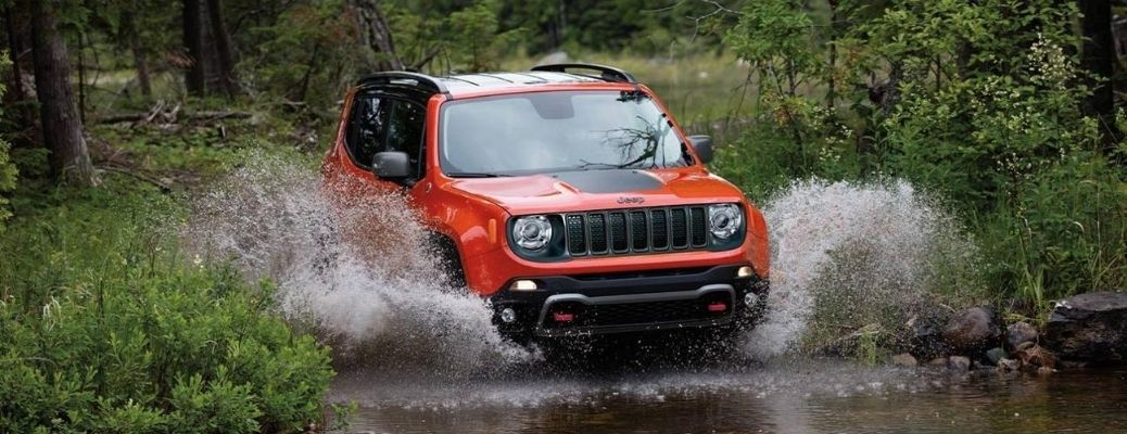 2020 Jeep Renegade driving in a river