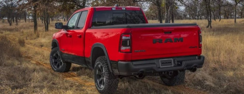 2021 RAM 1500 parked outside rear view