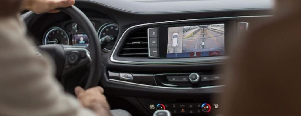 Interior view of a 2019 Buick Enclave with the Surround Vision feature on the center display