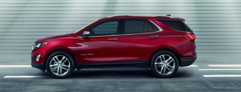 Exterior view of a red 2019 Chevrolet Equinox