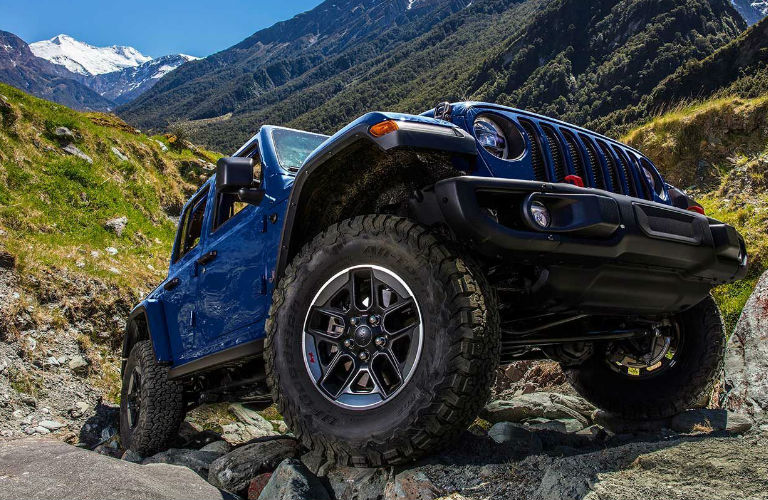 2019 Jeep Wrangler parked on rocks