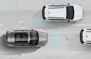 Diagram of the 2019 Jeep Compass adaptive cruise control with stop and go in action