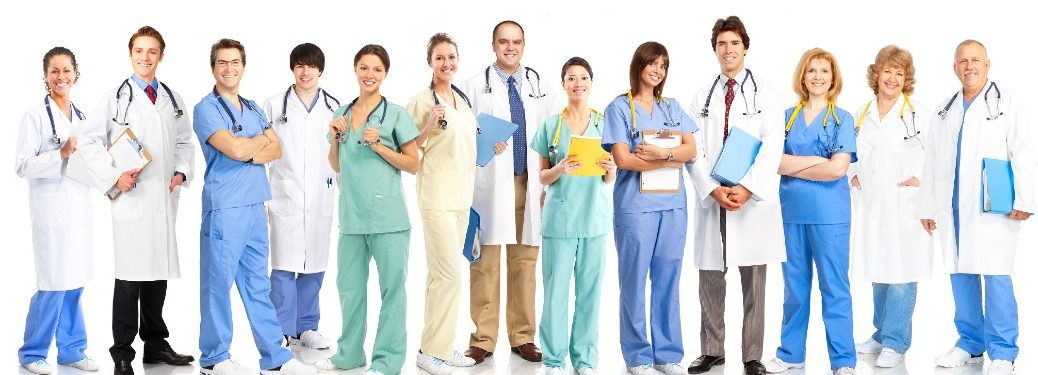Medical professionals lined up next to each other