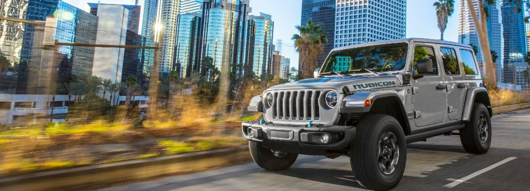 2021 Jeep Wrangler 4xe driving on a street