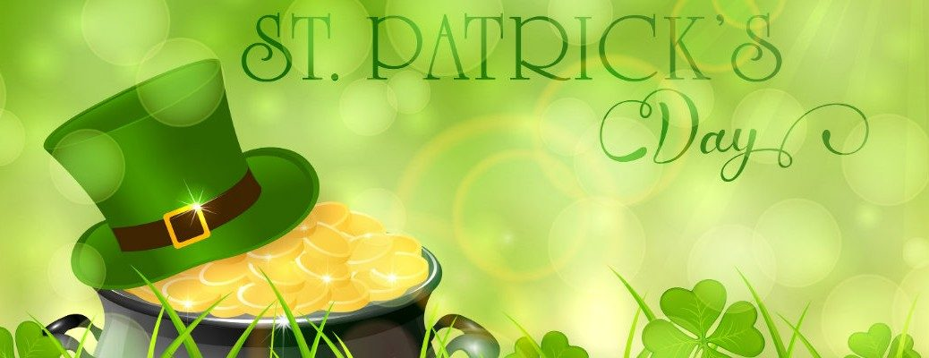 St. Patrick's Day banner with leprechaun buckle hat and pot of gold