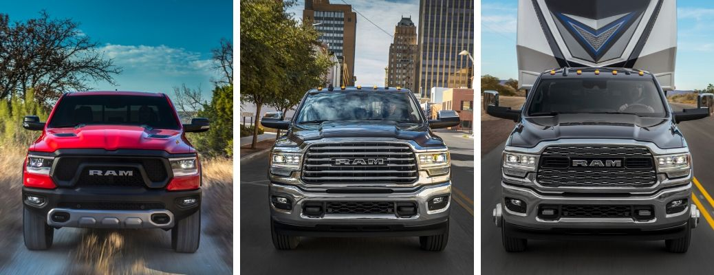 2020 Ram 1500 Rebel in red, 2020 Ram 2500 Longhorn, and 2020 Ram 3500 Limited