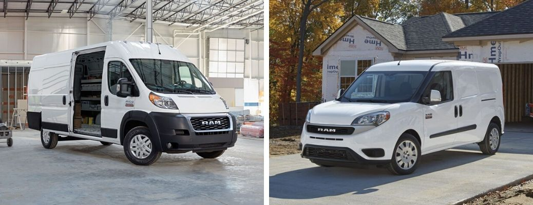 2020 Ram ProMaster and 2020 Ram ProMaster City models in white paint colors
