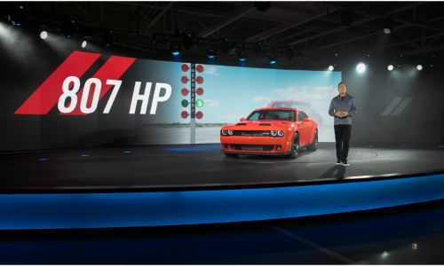 2020 Dodge Challenger SRT Super Stock stage debut with horsepower graphic