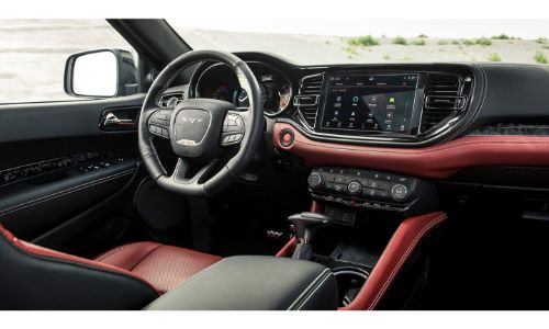 2021 Dodge Durango SRT Hellcat interior shot of seating, steering wheel, and dashboard
