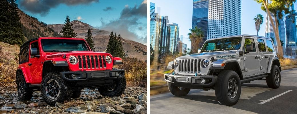 2021 Jeep Wrangler in red and 2021 Jeep Wrangler 4xe in silver gray