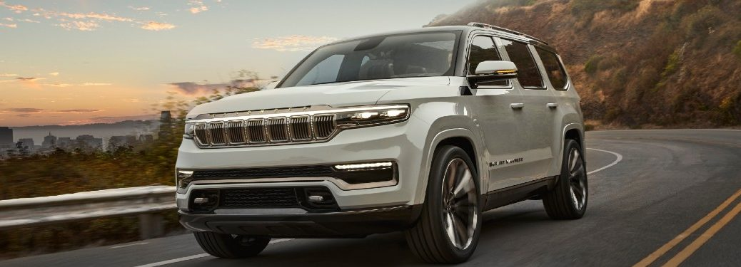 2021 Jeep Grand Wagoneer driving on a road