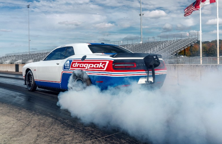 2021 Dodge Challenger Mopar Drag Pak with tires smoking