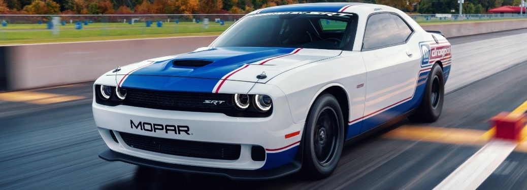 2021 Dodge Challenger Mopar Drag Pak crossing a finish line