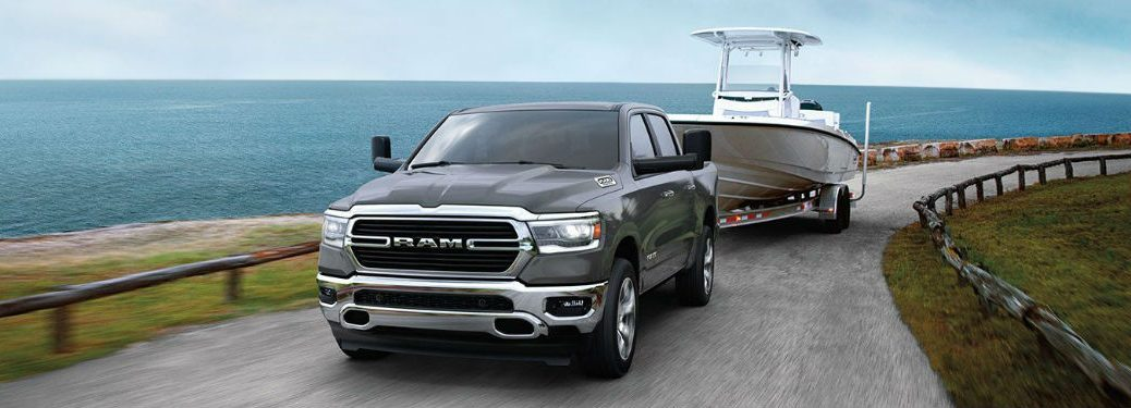 A 2020 Ram 1500 towing a boat