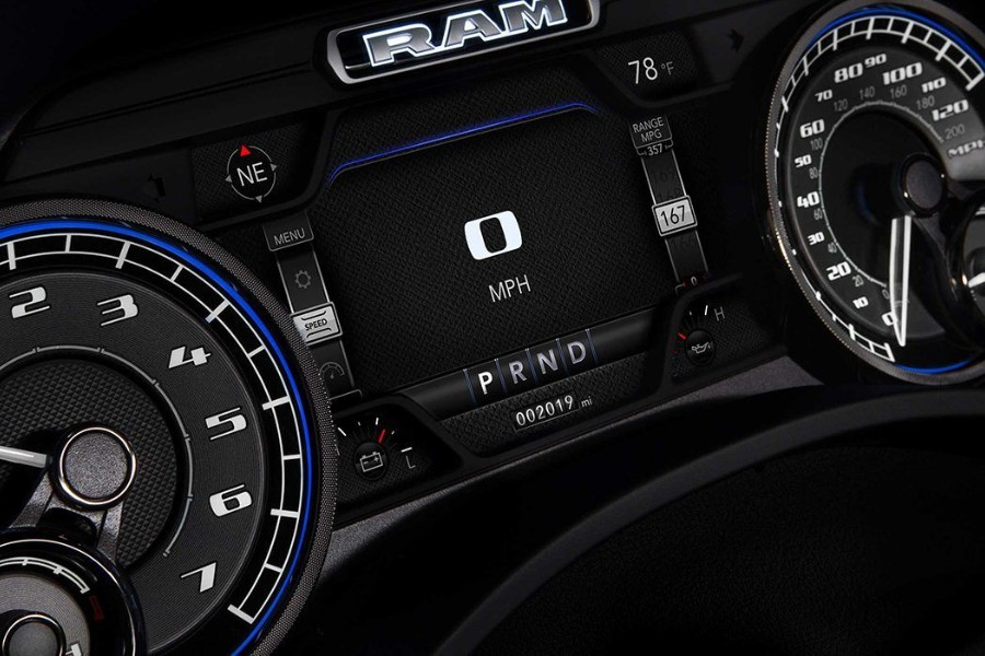 Close up of the digital cluster display in the 2019 RAM 1500