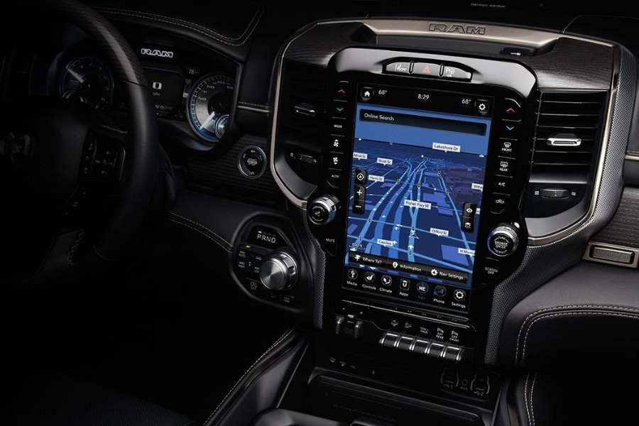 Close up of the touchscreen with navigation in the 2019 RAM 1500