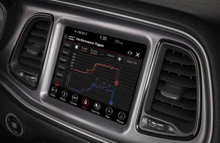 Close up of the Dodge Performance Pages feature in the 2019 Dodge Challenger