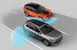 Diagram of the 2019 Jeep Cherokee using its blind spot monitor