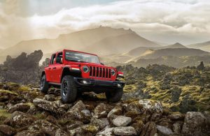 2020 Jeep Wrangler parked on some rocks