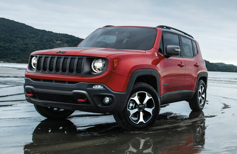 Jeep Renegade on a beach