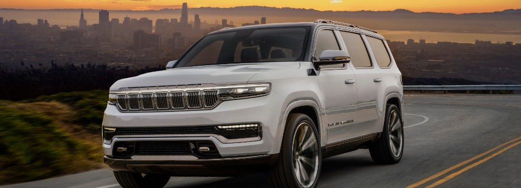 2021 Jeep Grand Wagoneer Concept driving on a road