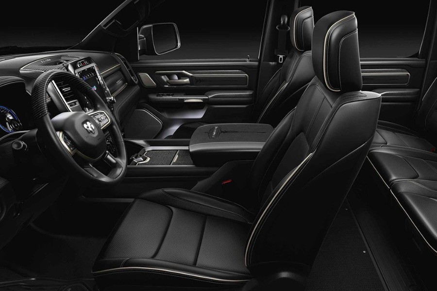 Driver view of the black interior in the 2019 RAM 1500