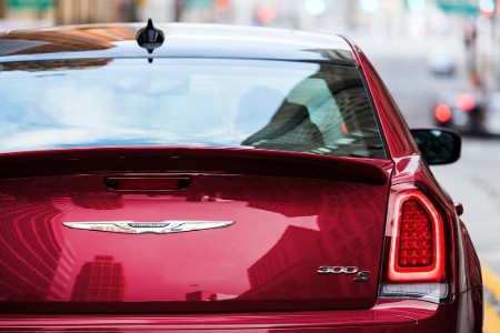 Close up of the rear of a red 2019 Chrysler 300