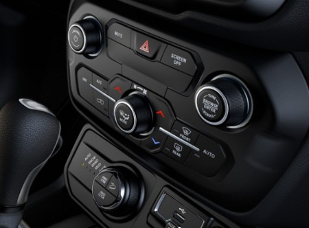 Close up of the control center in the 2019 Jeep Renegade