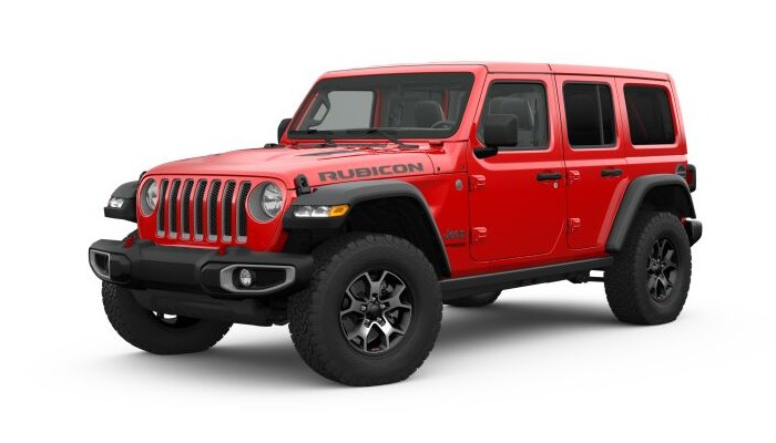 Front driver angle of the 2019 Jeep Wrangler in Firecracker Red Clear-Coat color