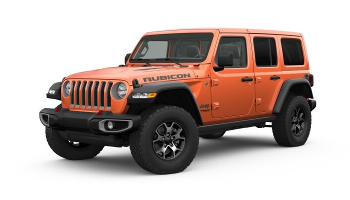 Front driver angle of the 2019 Jeep Wrangler in Punk'n Metallic Clear-Coat color