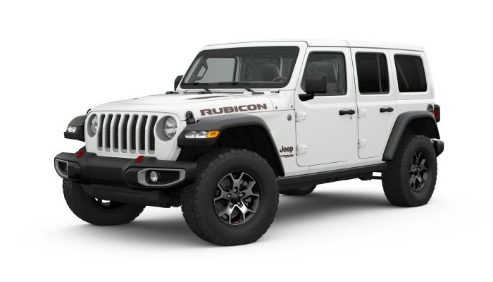 Front driver angle of the 2019 Jeep Wrangler in Bright White Clear-Coat color