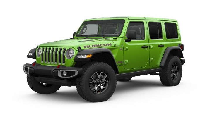 Front driver angle of the 2019 Jeep Wrangler in Mojito! Clear-Coat color