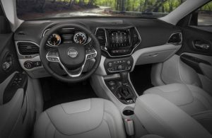 2020 Jeep Cherokee dashboard and steering wheel